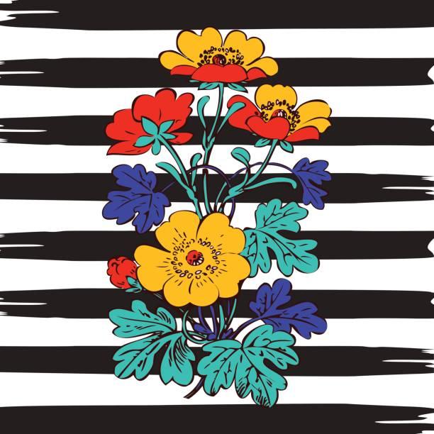 border frame botanical bush with tropical flowers vintage print, stripes pattern retro spring summer background vector illustration design, fashion, shirt, textile, greeting card, invitation, wedding - spring fashion stock illustrations, clip art, cartoons, & icons