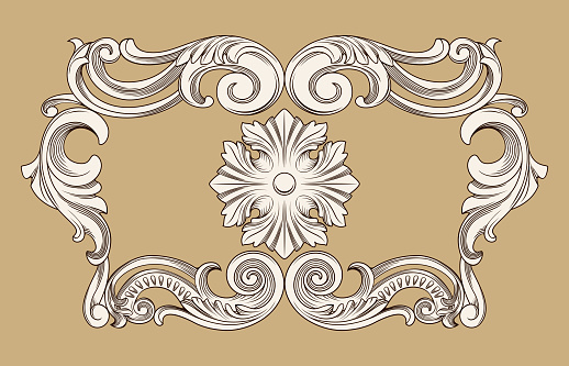 vector vintage border frame engraving with retro ornament pattern in antique baroque style
