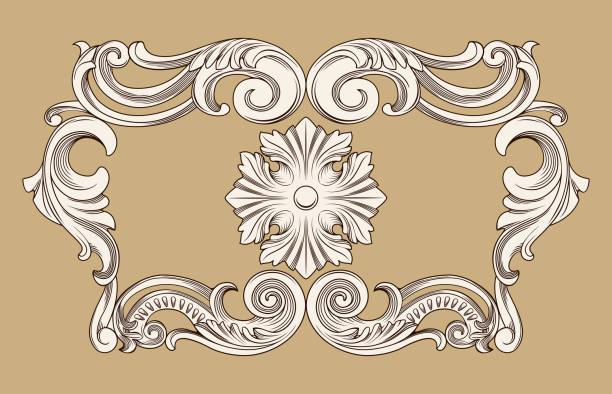 border frame in antique baroque style – artystyczna grafika wektorowa