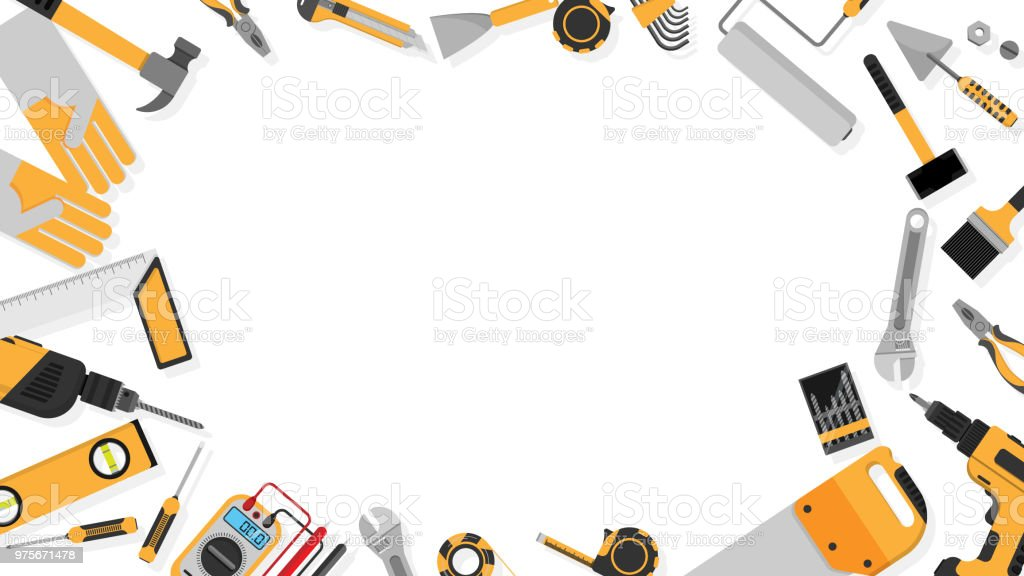 Border Frame Of Blackyellow Color Tools Set As Background ...