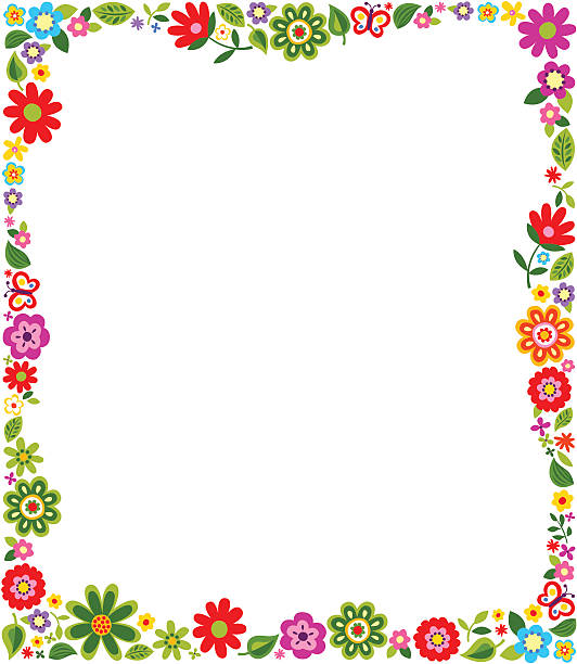 border frame with floral pattern - garden stock illustrations, clip art, cartoons, & icons