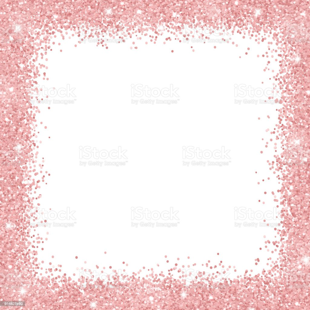 Border frame with rose gold glitter on white background. Vector vector art illustration