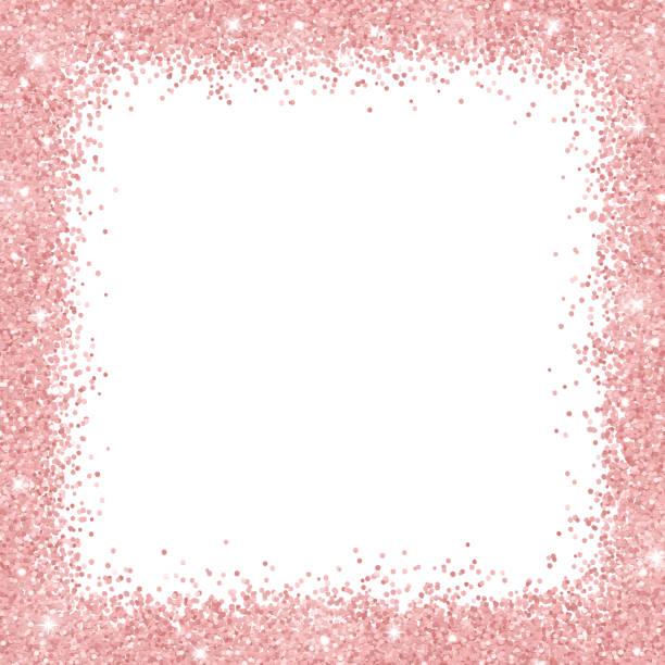 Border frame with rose gold glitter on white background. Vector vector art illustration