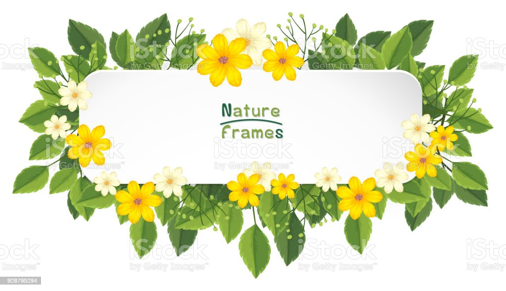 Border Frame With Yellow And White Flowers Stock Vector Art & More ...
