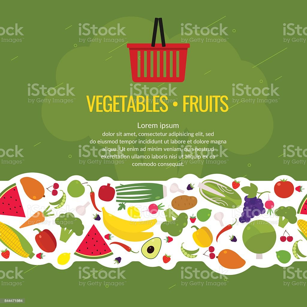 border fresh vegetables and fruits stock vector art 544471564 istock