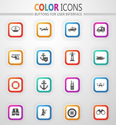 Border Guard and Coast Guard icon set