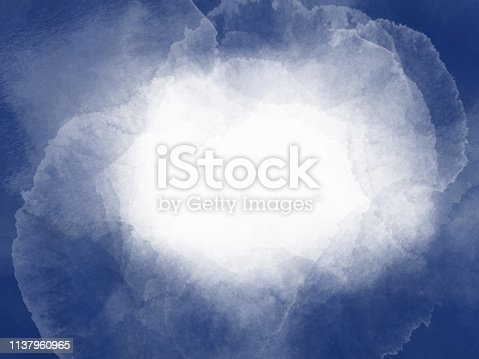 Border of hues of navy blue paint with white background. Watercolor strokes frame. Navy blue colored hand painted abstract texture.