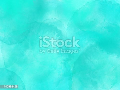 Border of hues of turquoise blue paint splashing droplets. Watercolor strokes design element. Turquoise blue colored hand painted abstract texture.