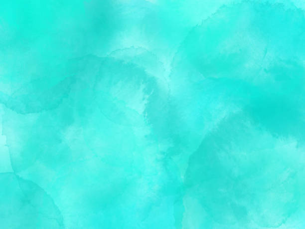 border of hues of turquoise blue paint splashing droplets. watercolor strokes design element. turquoise blue colored hand painted abstract texture. - miękkość stock illustrations