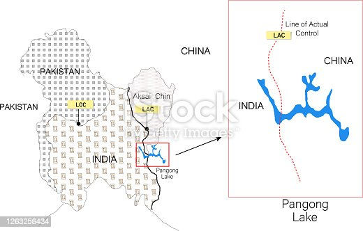 istock border of India and China map. line of actual control or LAC. Map of Pangong lake. 1263256434