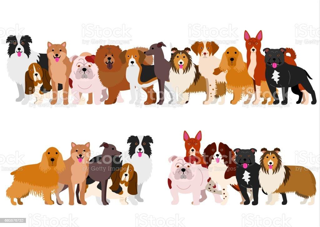 Border of medium dogs set vector art illustration