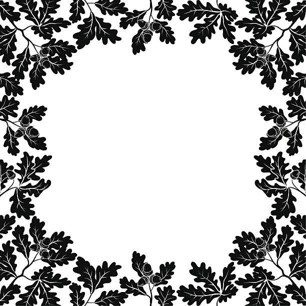 bildbanksillustrationer, clip art samt tecknat material och ikoner med border of oak branches, black contours - abstract silhouette art