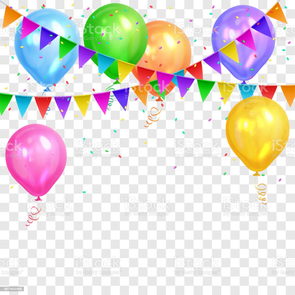Border Of Realistic Colorful Helium Balloons And Flags Garlands Isolated On Transparent Background Party Decoration