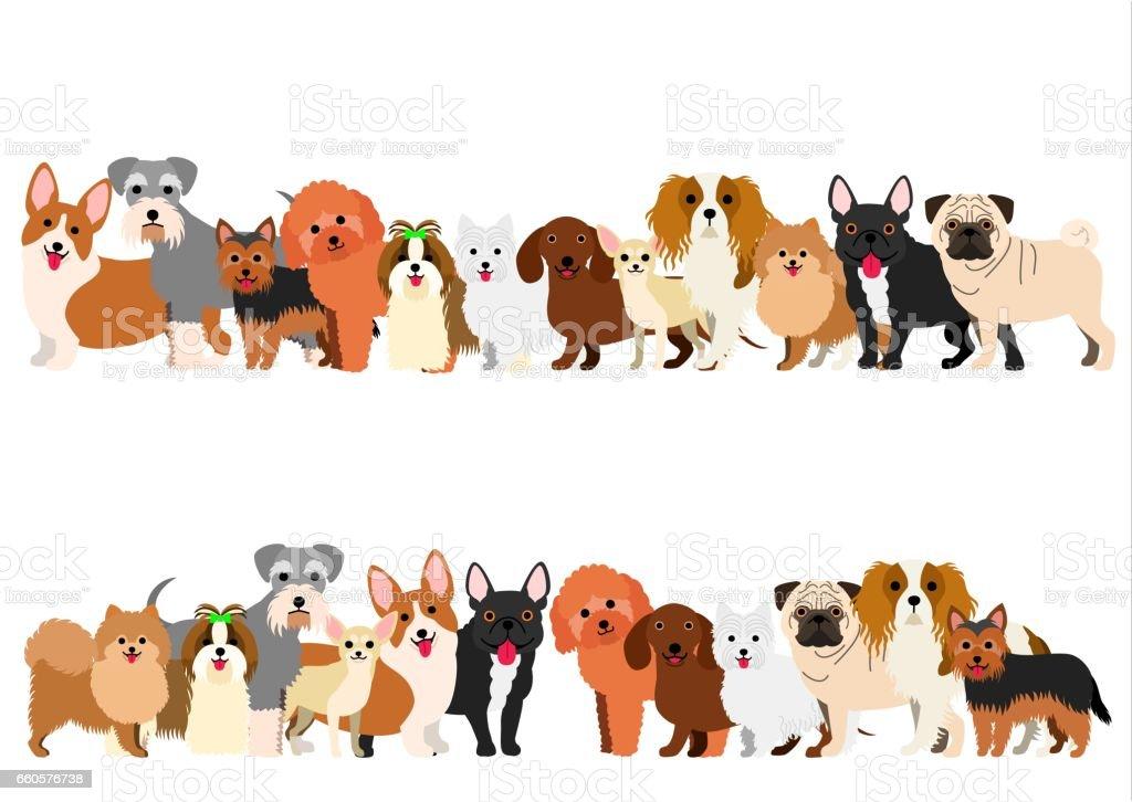 Border of small dogs set vector art illustration