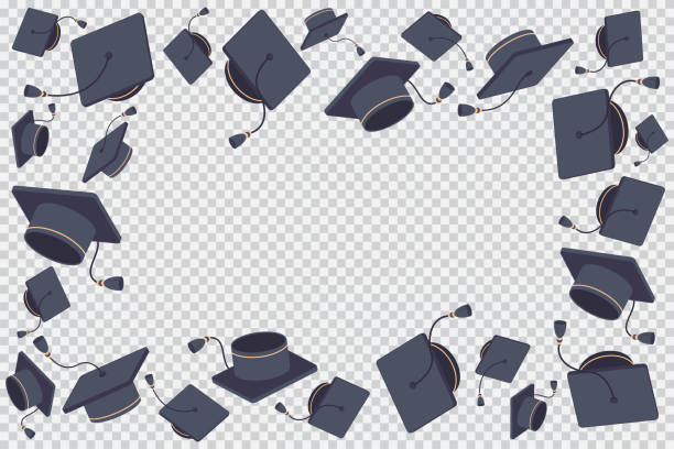 border or frame with flying graduate cap vector cartoon illustration isolated on a transparent background. - graduation stock illustrations