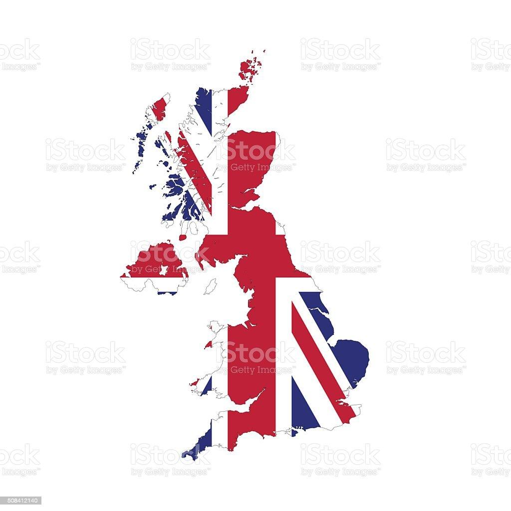 Reino Unido, mapa de frontera Marco aislado - ilustración de arte vectorial