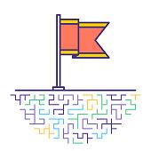 Border Patrol Flag Flat Line Icon Illustration