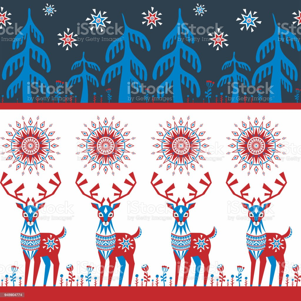 border seamless pattern with deer