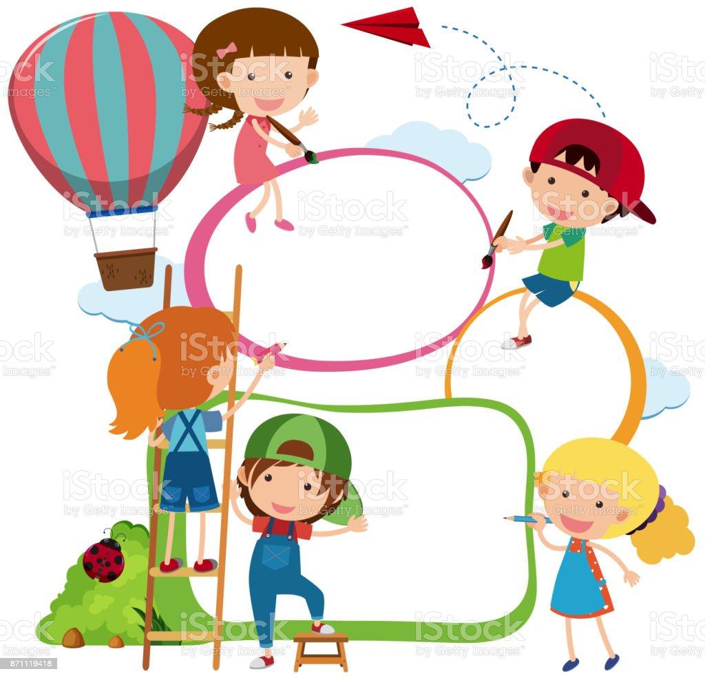 Grenze Vorlage Kinder Zeichnen Und Malen Stock Vektor Art Und Mehr