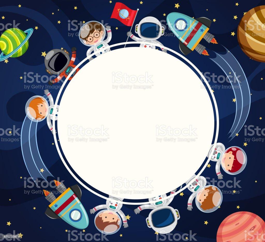 Grenze-Vorlage mit Astronauten im Weltraum – Vektorgrafik