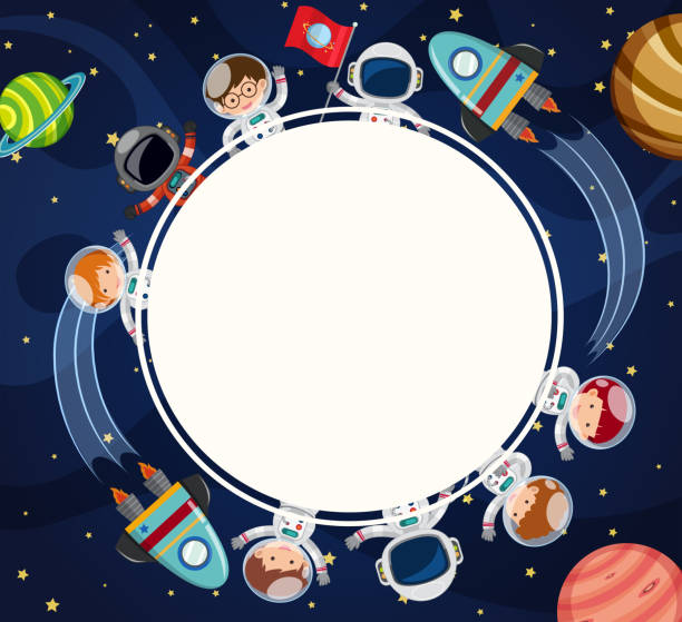 border template with astronauts in space - space background stock illustrations