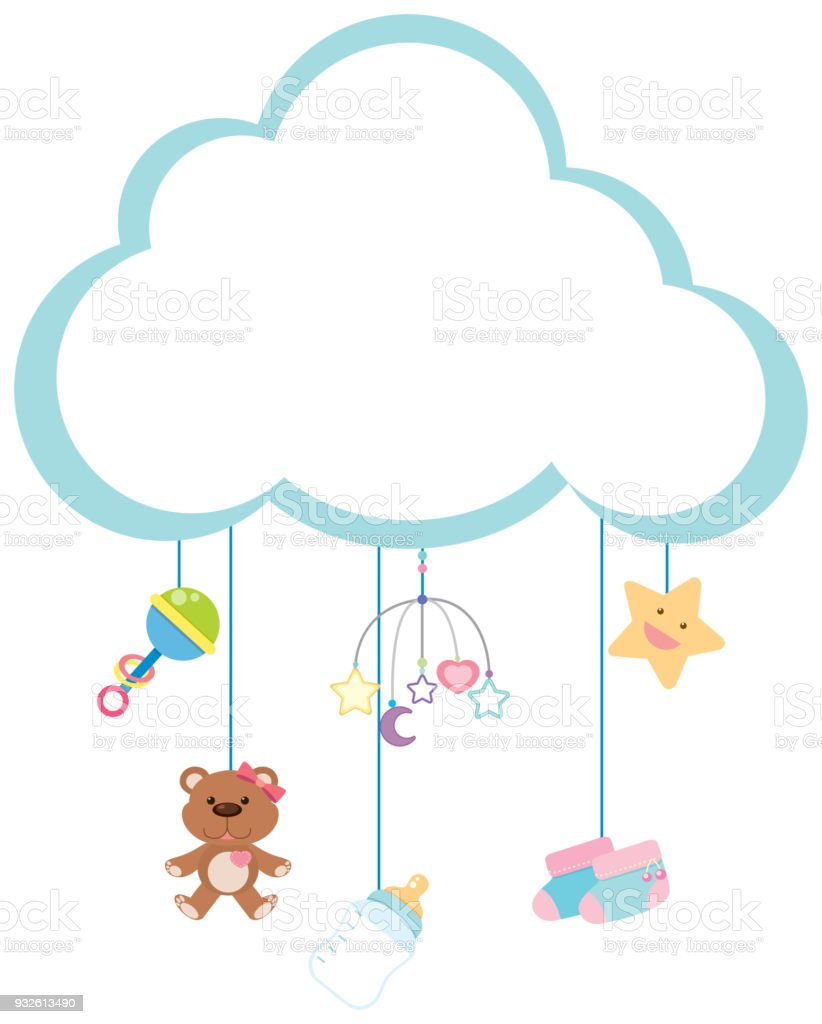 Border Template With Baby Items Stock Vector Art More Images Of