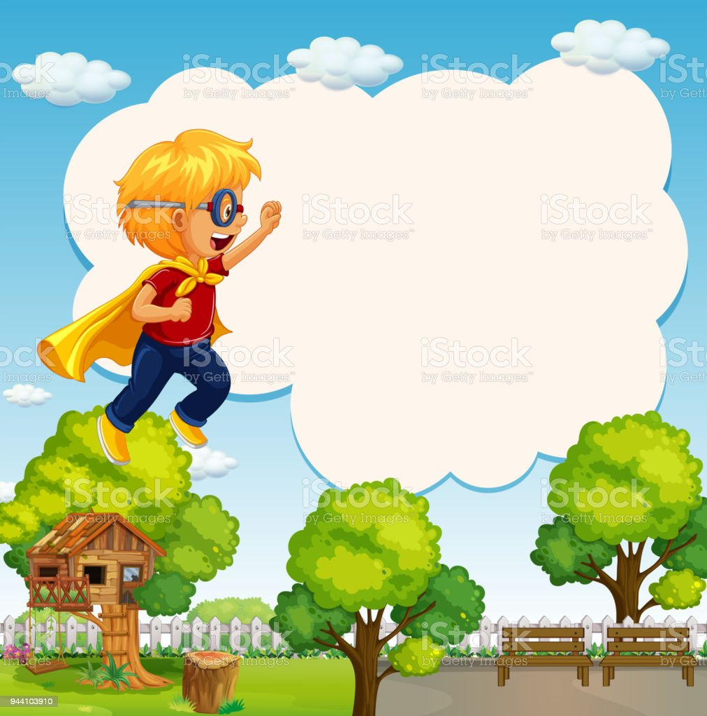 Border Template With Boy Dressed In Hero Costume Stock Vector Art