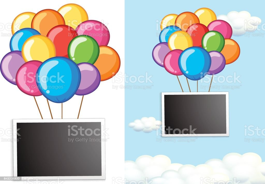 border template with colorful balloons in sky stock vector art
