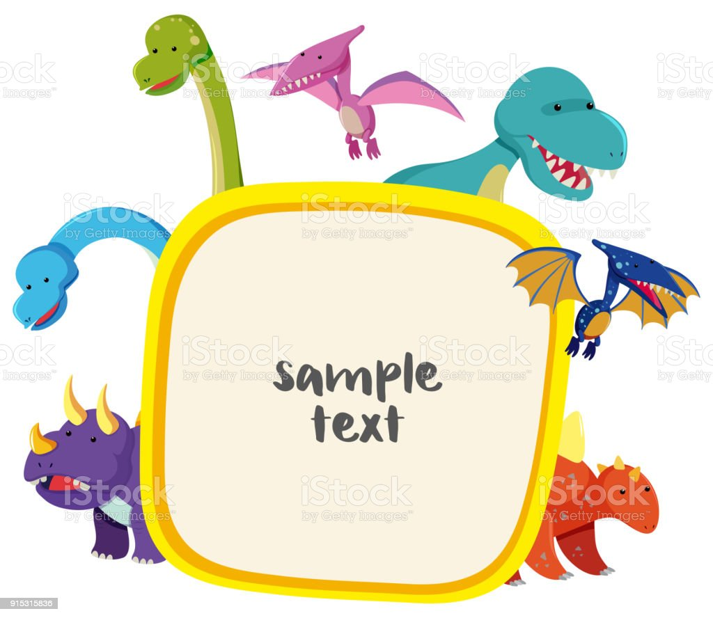 Border Template With Cute Dinosaurs Stock Vector Art More Images