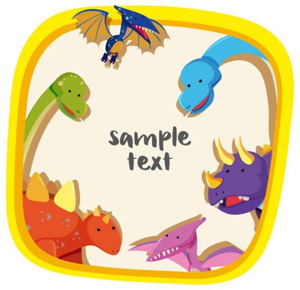 grenze-vorlage mit verschiedenen arten von dinosauriern - eiszeit stock-grafiken, -clipart, -cartoons und -symbole