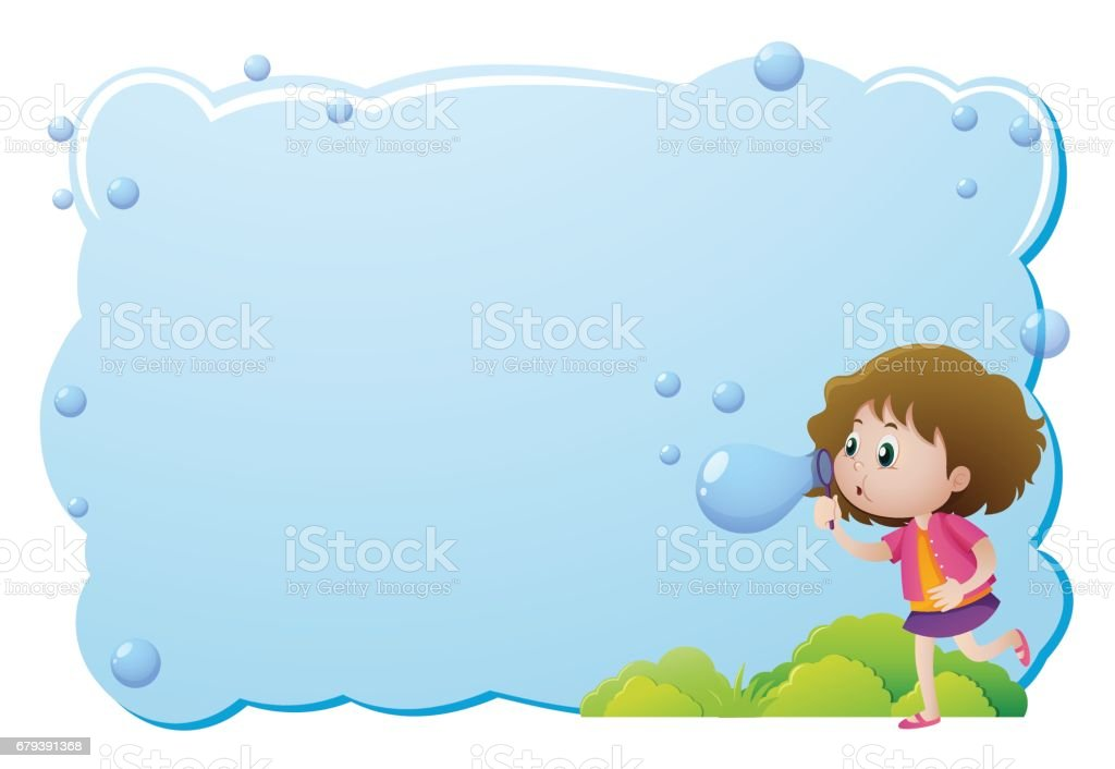 Border template with girl blowing bubbles royalty-free border template with girl blowing bubbles stock vector art & more images of art