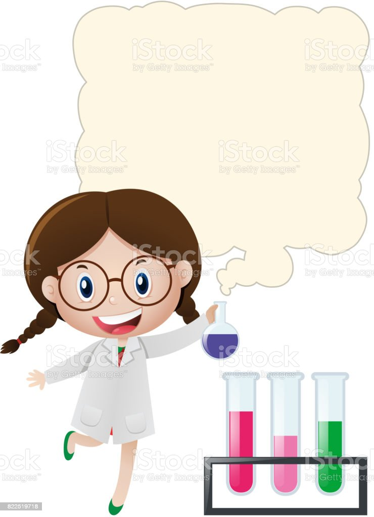 Border template with girl in science lab vector art illustration