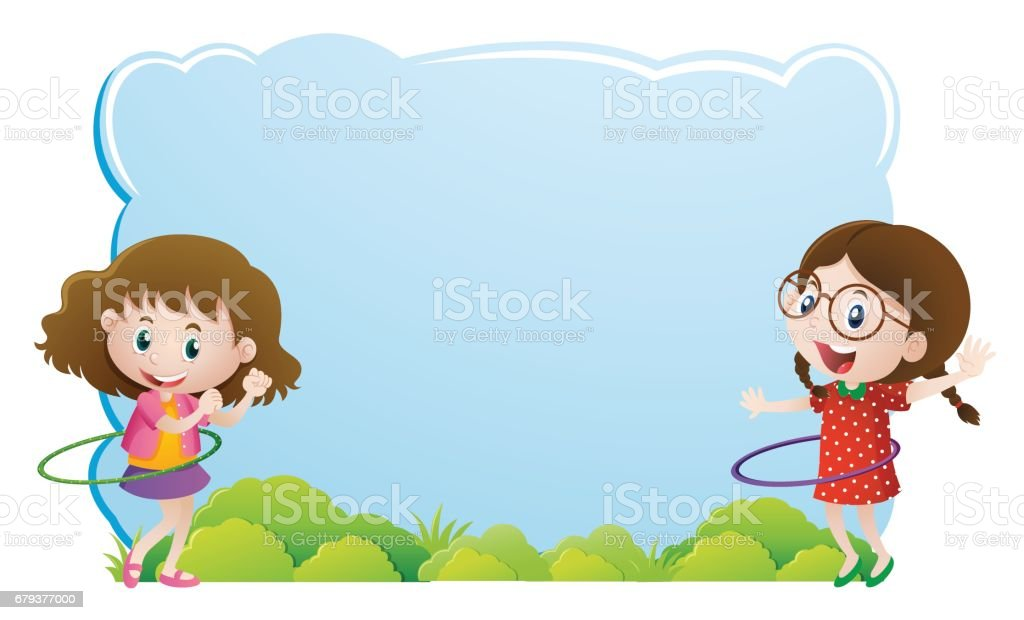Border template with girls playing hulahoop royalty-free border template with girls playing hulahoop stock vector art & more images of art