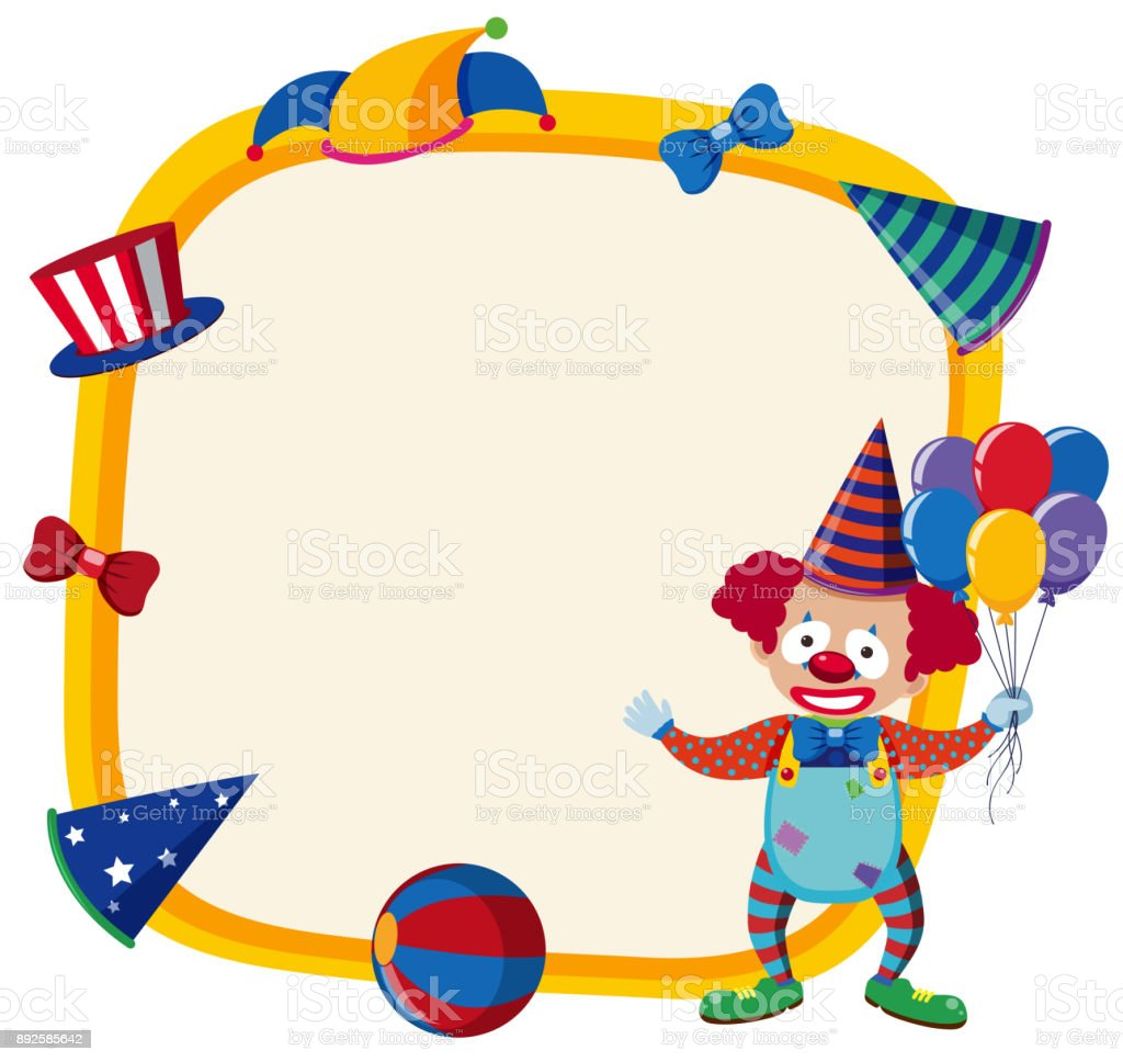 Border Template With Happy Clown And Balloons Stock Vector Art ...