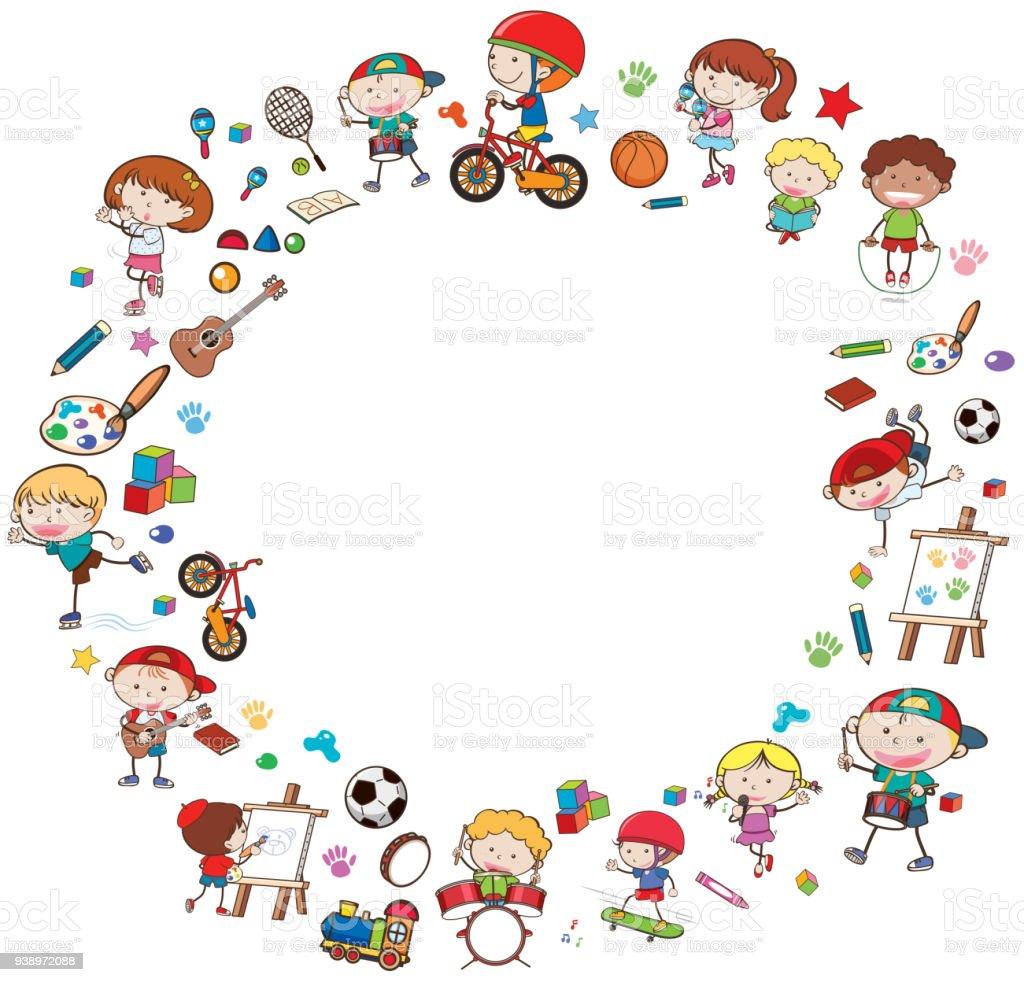border template with happy kids arte vetorial de stock e mais