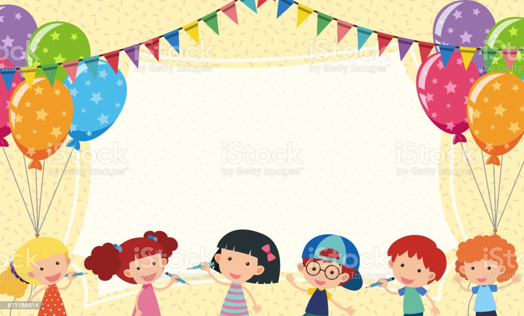 Border Template With Kids And Party Balloons Stock Vector Art & More ...