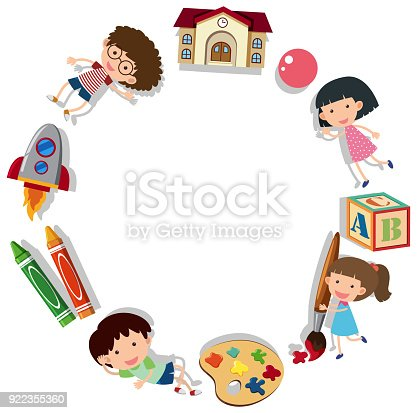 border template with kids and school supplies stock vector art