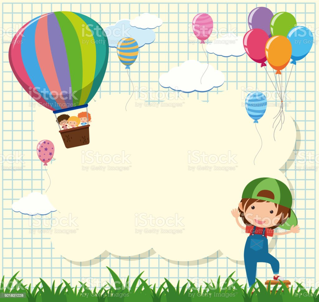 Border Template With Kids In Balloon Stock Vector Art & More Images ...