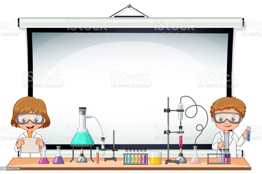 Border template with kids in science lab vector art illustration