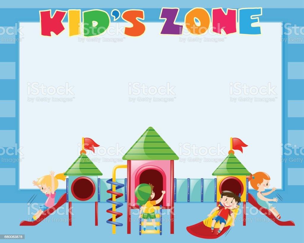 Border template with kids play on slide vector art illustration