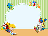 Border template with kids reading books