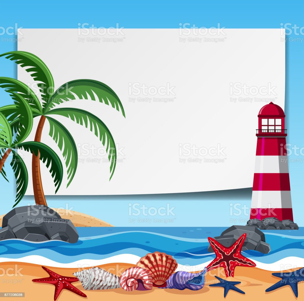 Border template with lighthouse and shells vector art illustration