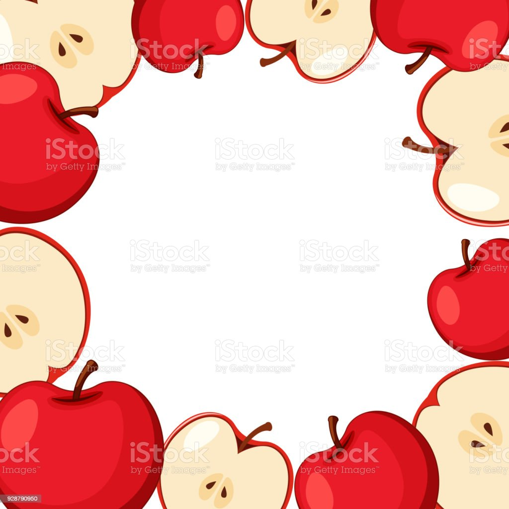 Grenzevorlage Mit Roten Äpfeln Stock Vektor Art und mehr Bilder von ...