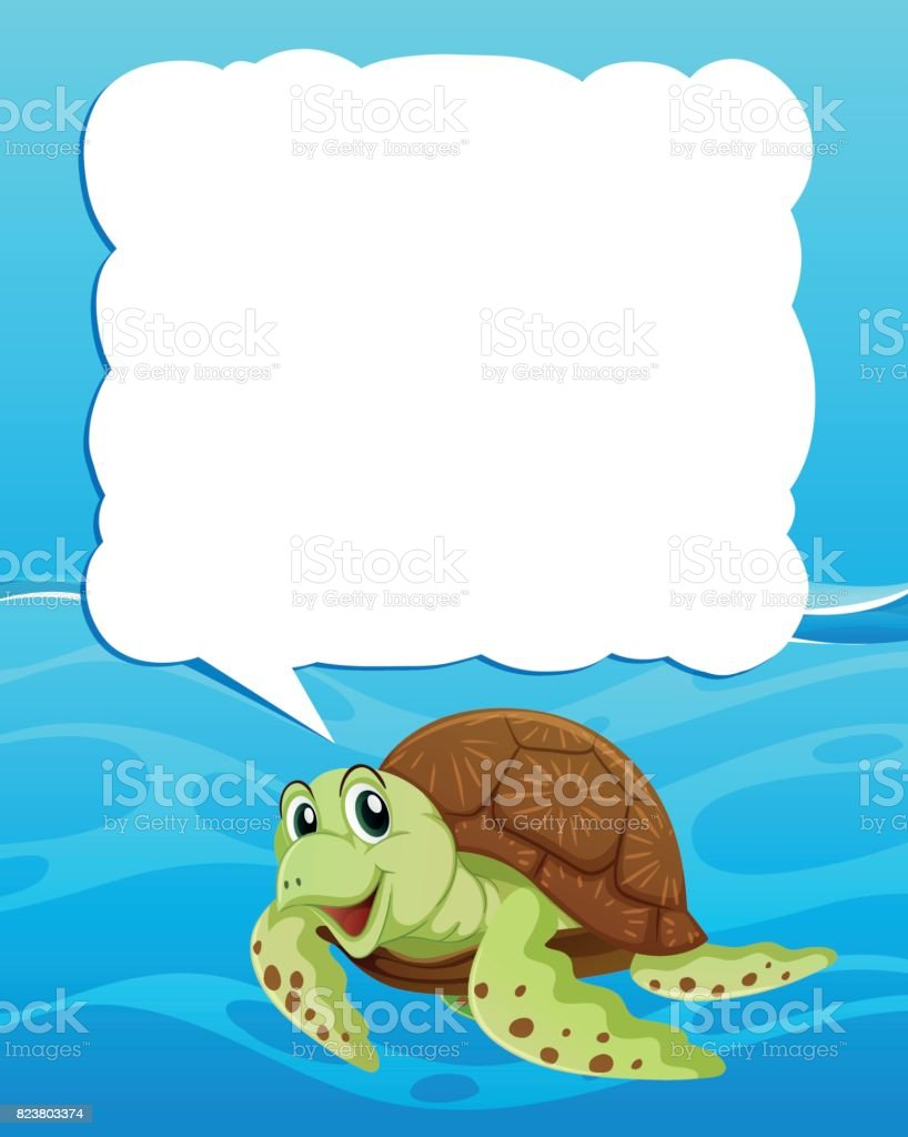 Border Template With Sea Turtle Swimming Stock Vector Art More