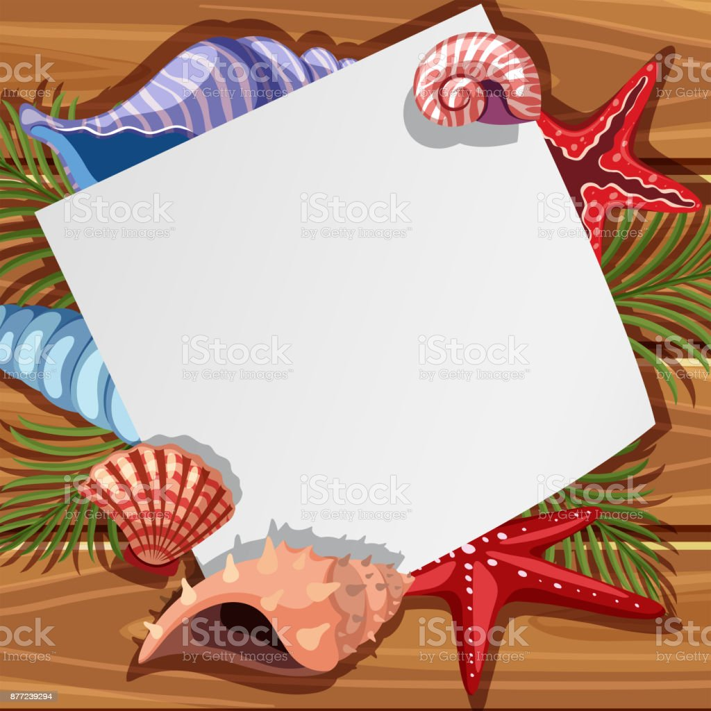 Border template with seaweed and starfish vector art illustration