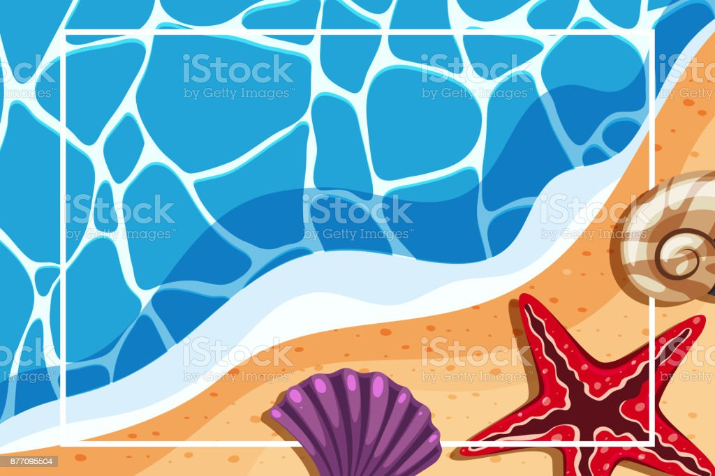 Border template with shells on the beach vector art illustration