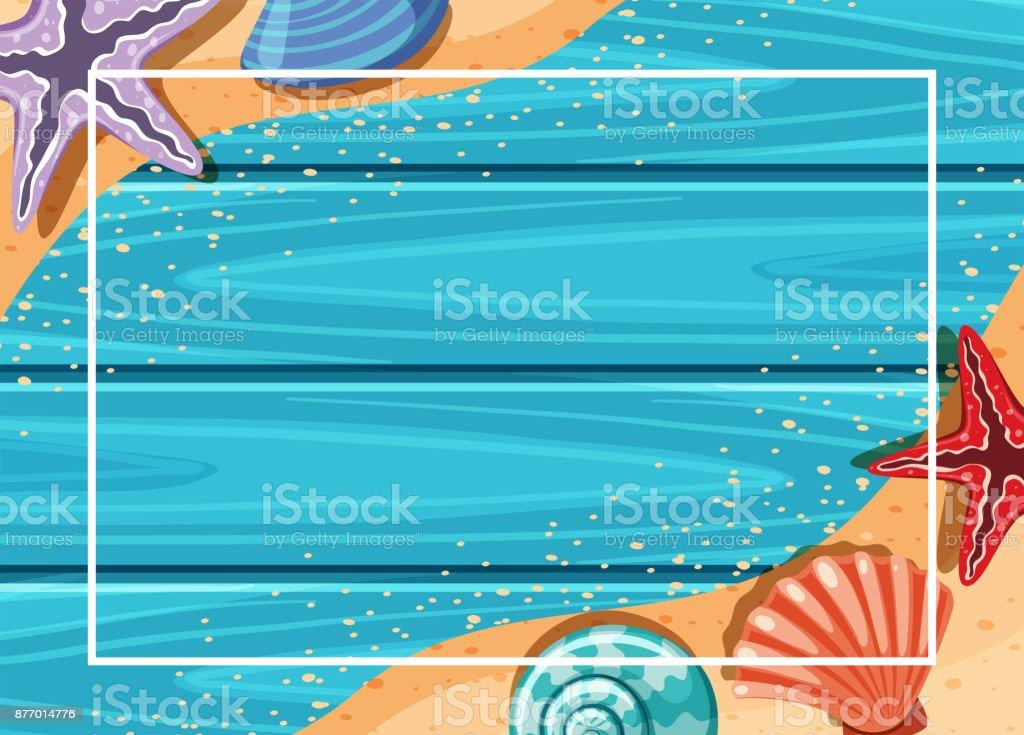 Border template with starfish and seashells on shore vector art illustration