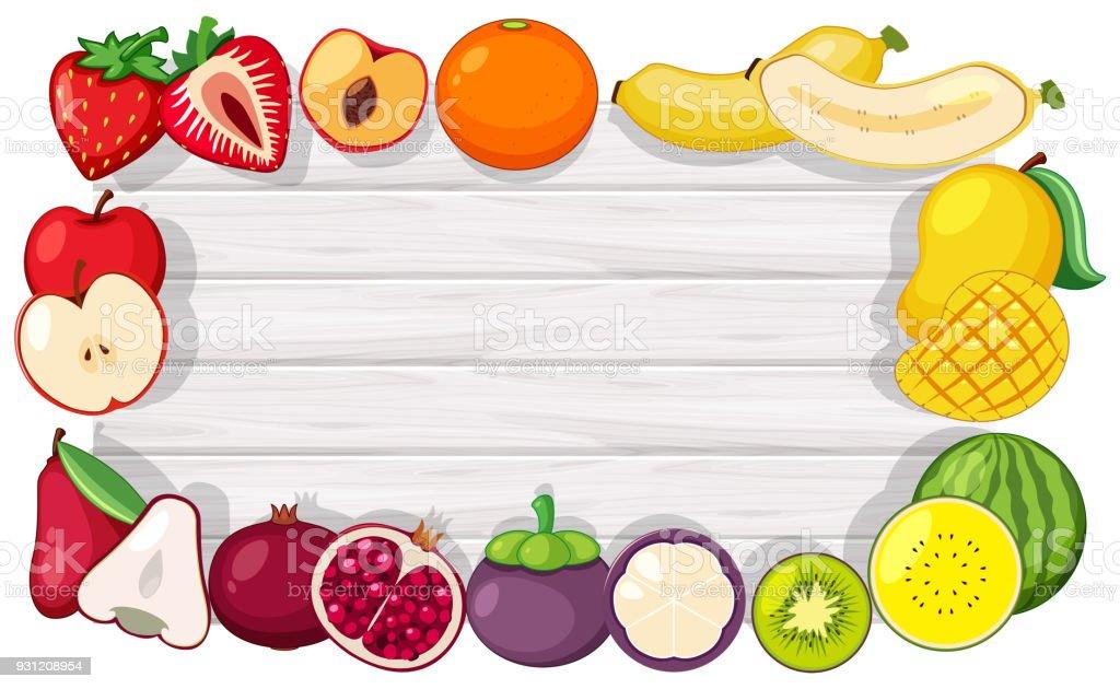 Grenzevorlage Mit Tropischen Früchten Stock Vektor Art und mehr ...