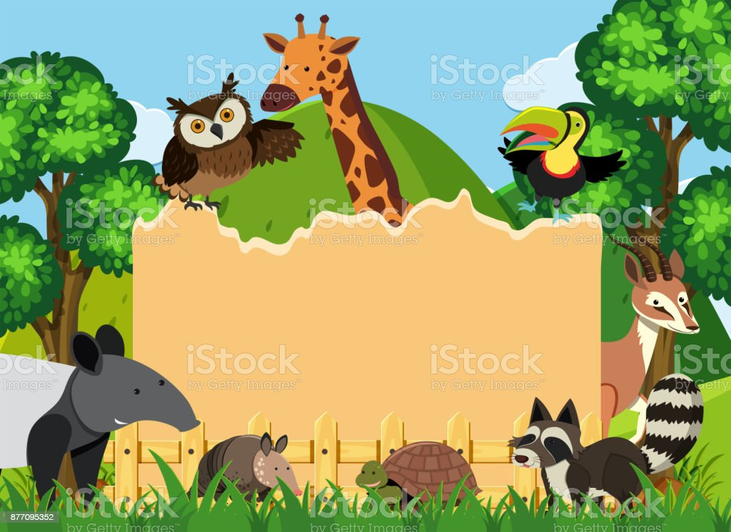 Border template with wild animals in park vector art illustration