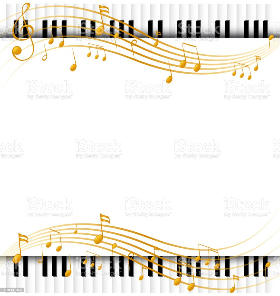 border template with with piano keyboards and musicnotes royalty free border template with with piano